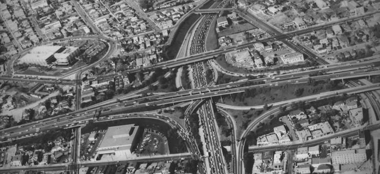 "Aerial view of I-110 and I-101 freeway interchange, Dodger stadium, ""Dick"